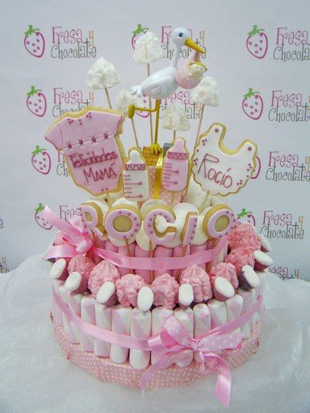 Tarta de chuches bautizo rosa bautizo fresa y chocolate - Chuches para bautizo ...