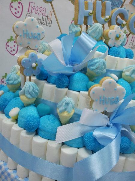 Tarta de chuches bautizo azul catalogo fresa y chocolate - Chuches para bautizo ...