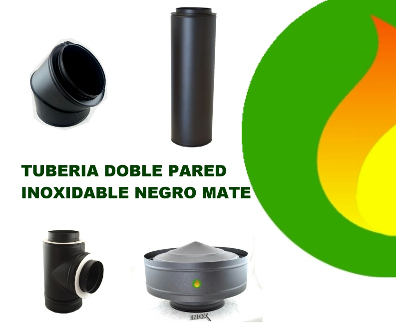 Tubería doble pared inox negra