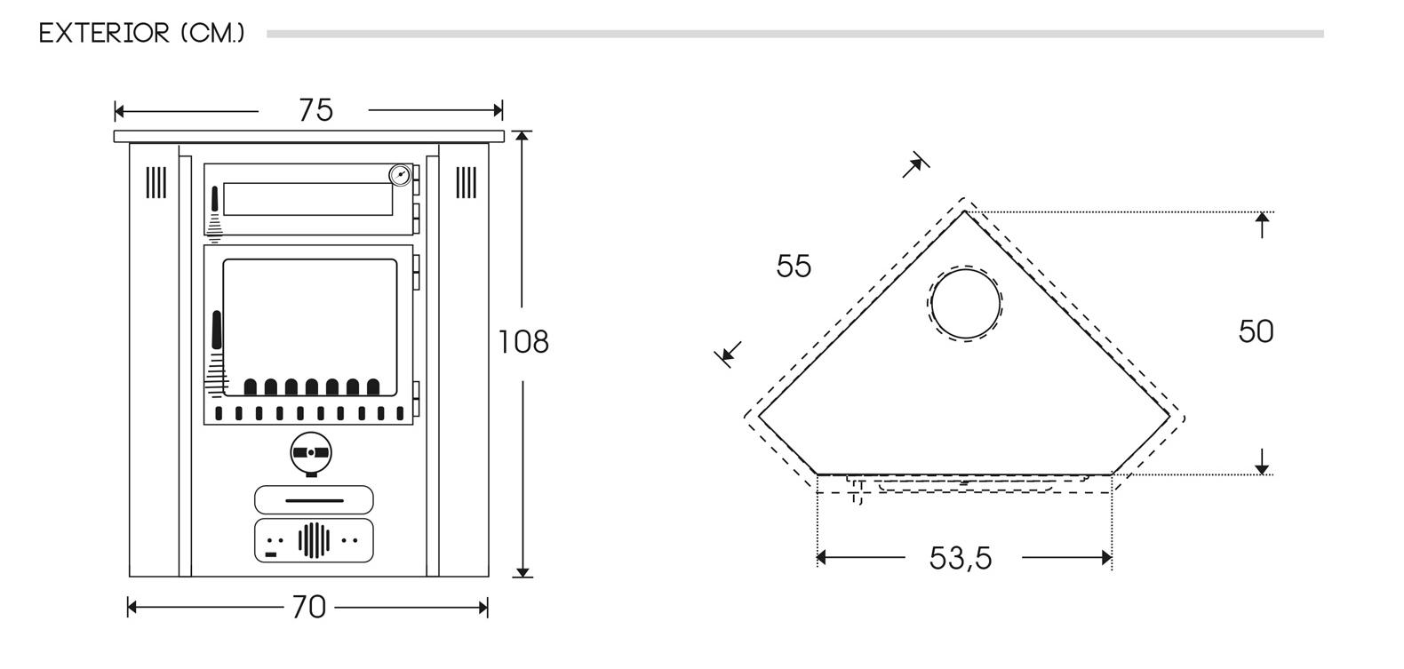 Medidas estufa de leña hibrida R4