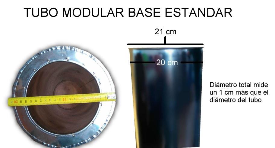 Base Estandar con borde en el tubo sea mayor que el diámetro