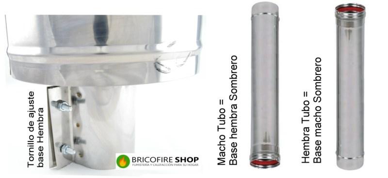Macho o hembra ajustable en función del tipo de tubo