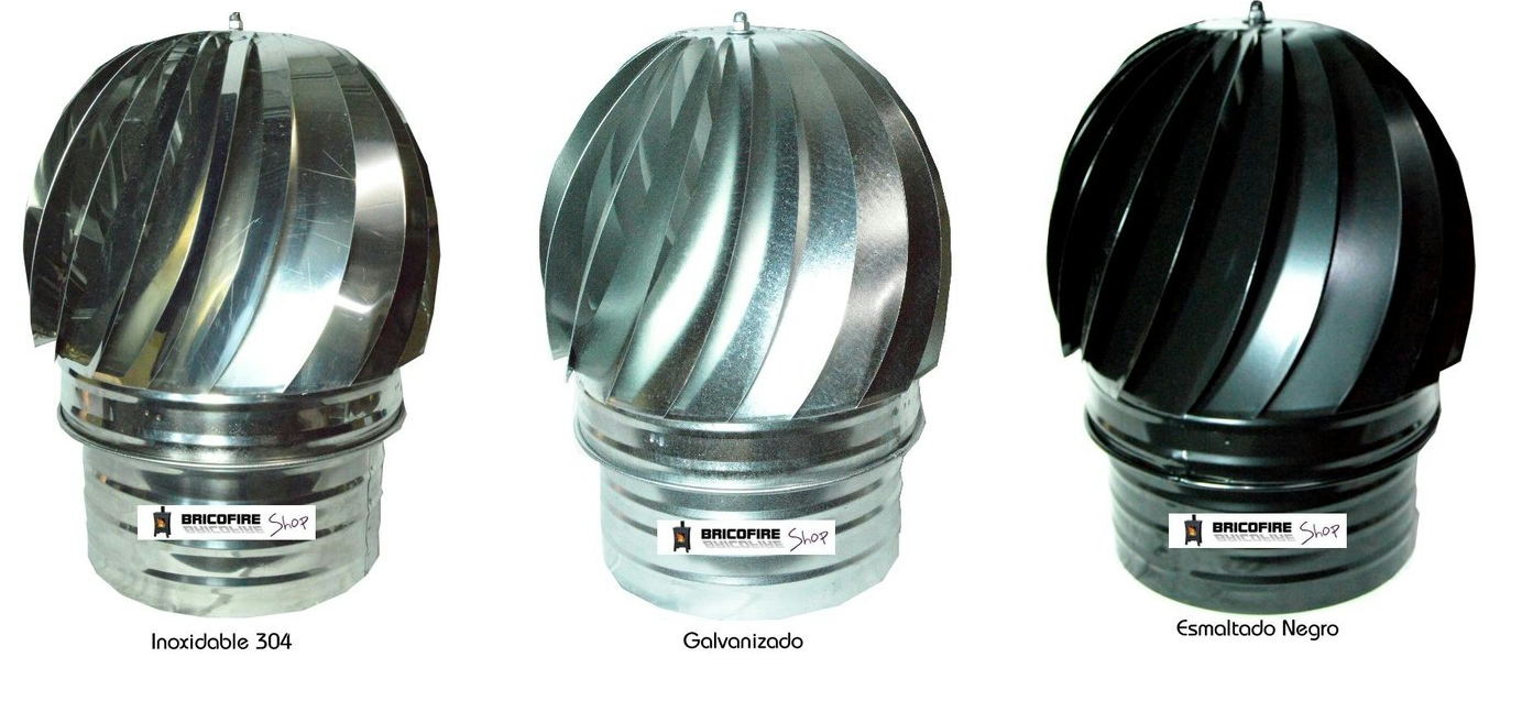 Sombrerete aspirador giratorio galvanizado, negro e inox
