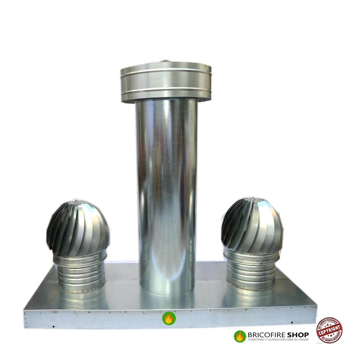 Caja aspiracion con dos aspiradores y antirrevoco con tubo