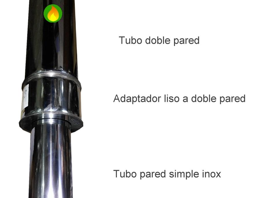 tubo pared simple inox adaptacion a doble pared