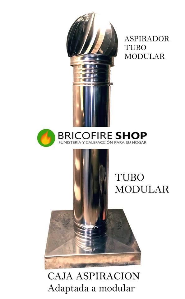 Caja chimenea con tubo modular y sombrerete aspirador