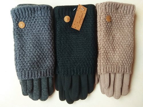 Double knitted tactile gloves