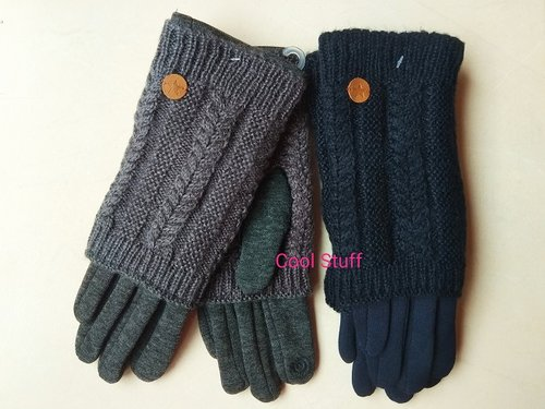 Guantes tricot trenza dobles