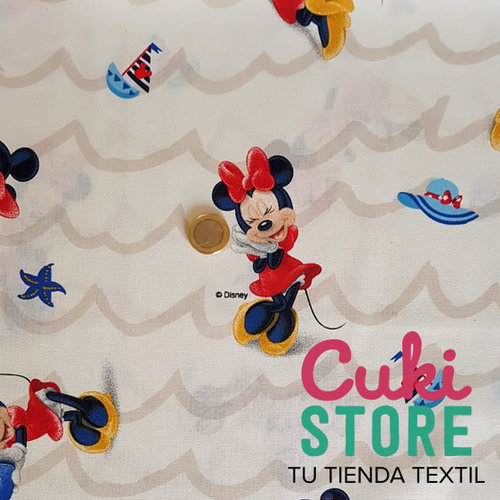 ALGODON 100% DISNEY MINNIE FONDO BLANCO