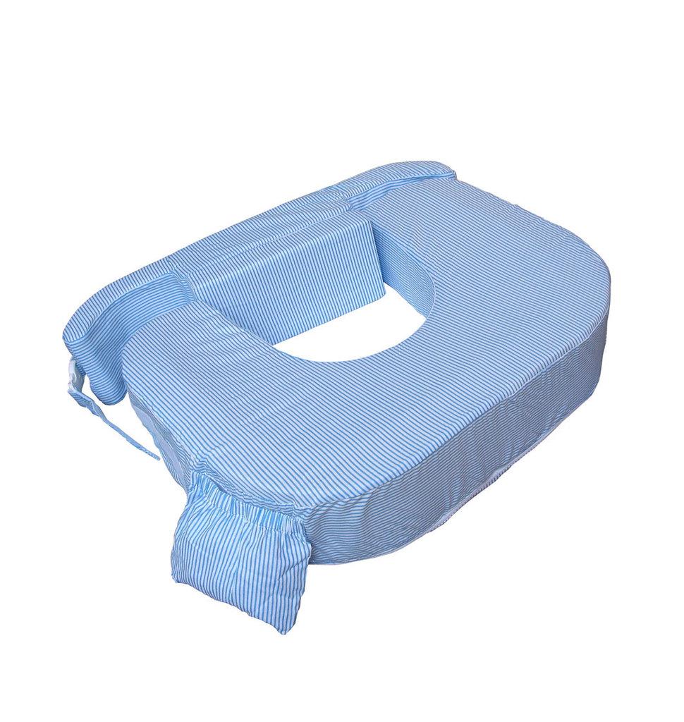 c924452d9 Oferta Cojín de lactancia gemelar a rayitas azules y blancas My Brest  Friend.