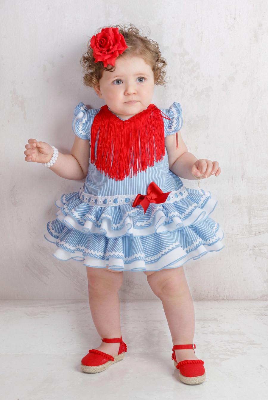 niña con flamenca para bebé de color celeste con rayas blancas pequeñas -  Mibebesito ae5b6d9396f0