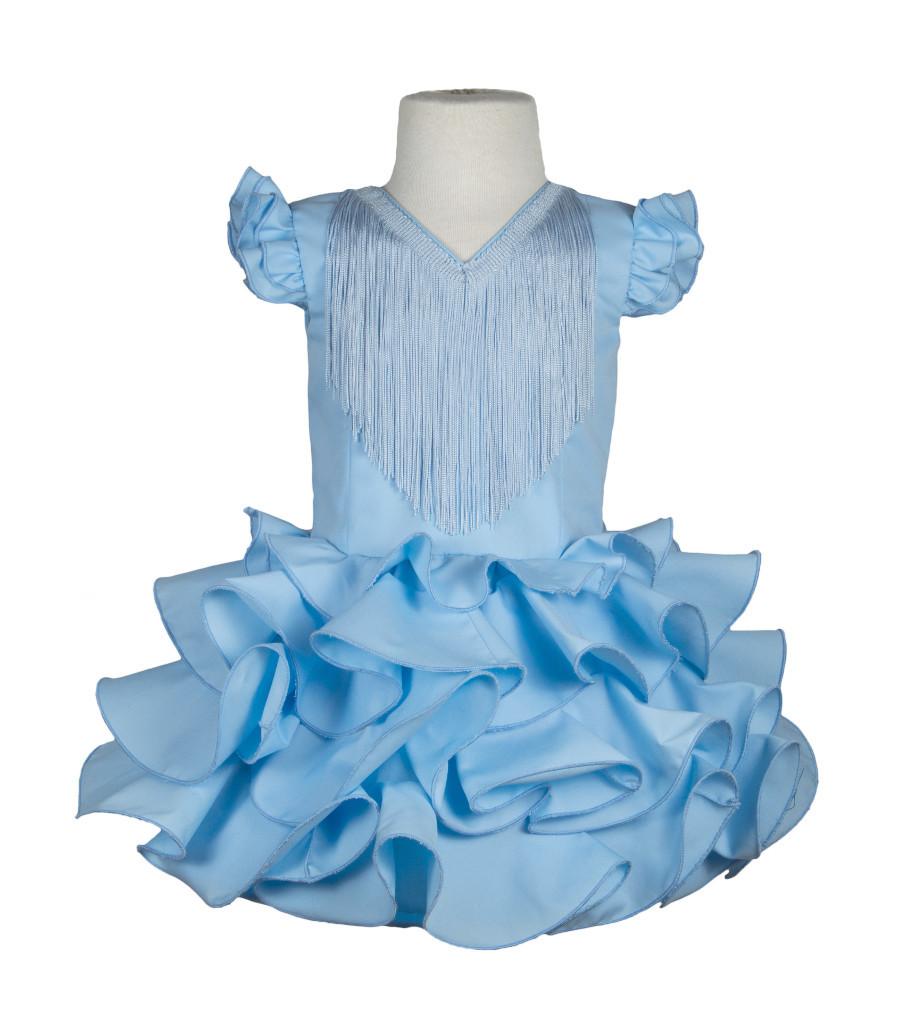 db0ea3242 Traje de flamenca niña básico celeste - MiBebesito. Moda flamenca ...