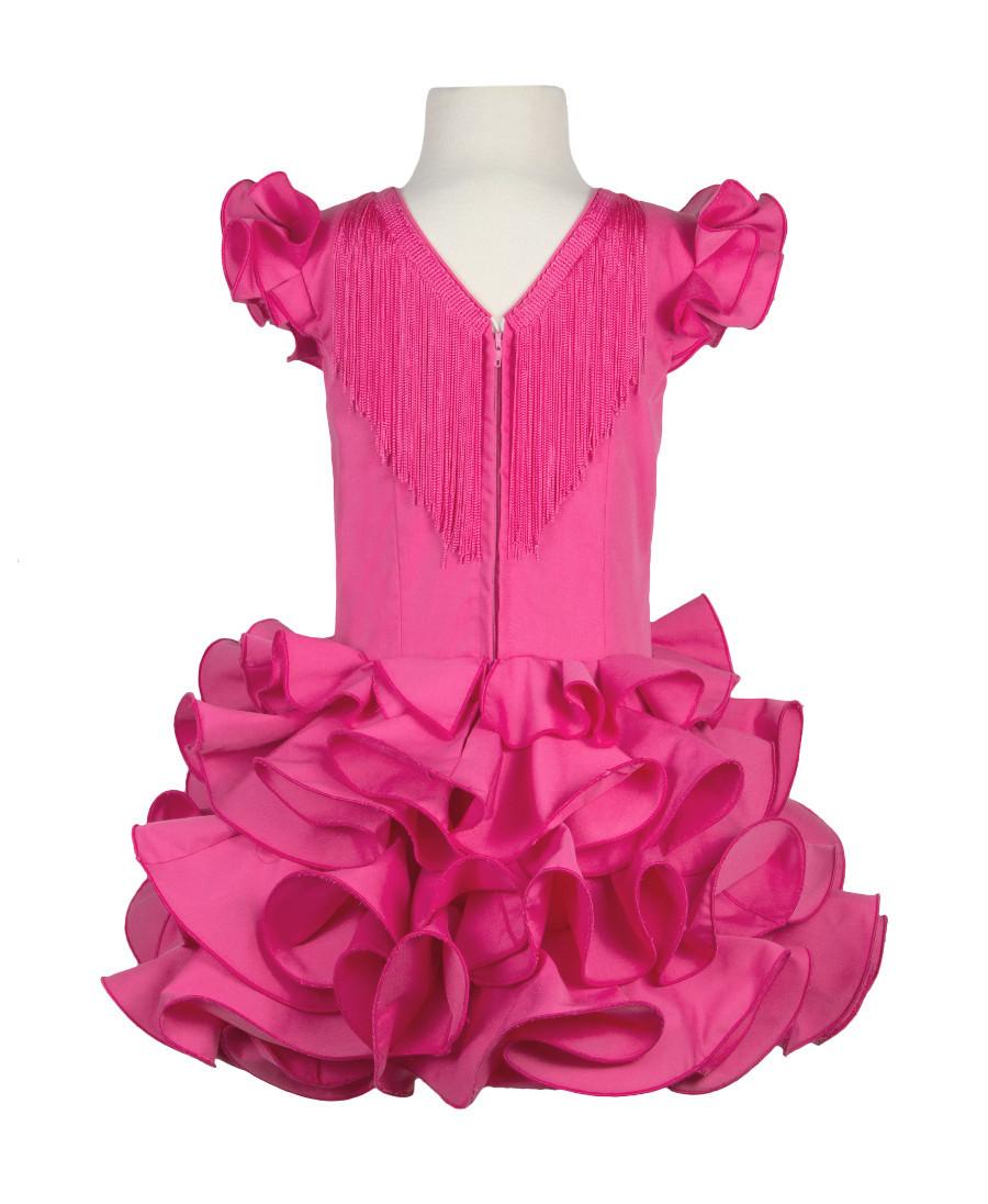da1e88bfc Traje de flamenca niña básico rosa fucsia - MiBebesito