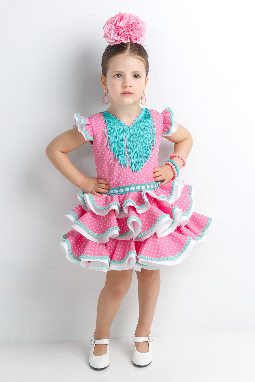 c8ce12501b Vestido GITANA para niña rosa lunares blancos - MiBebesito