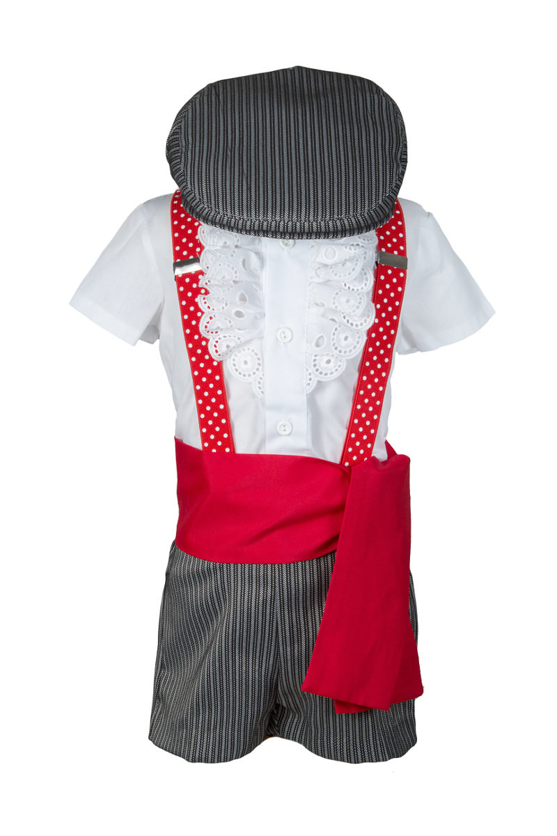 69b759178 Traje de campero clásico de rayas grises para niño con fajín