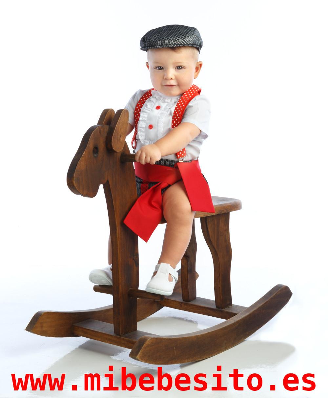 d10ab0e7f traje de corto para niños con braguita campera y fajín rojo a juego  MiBebesito