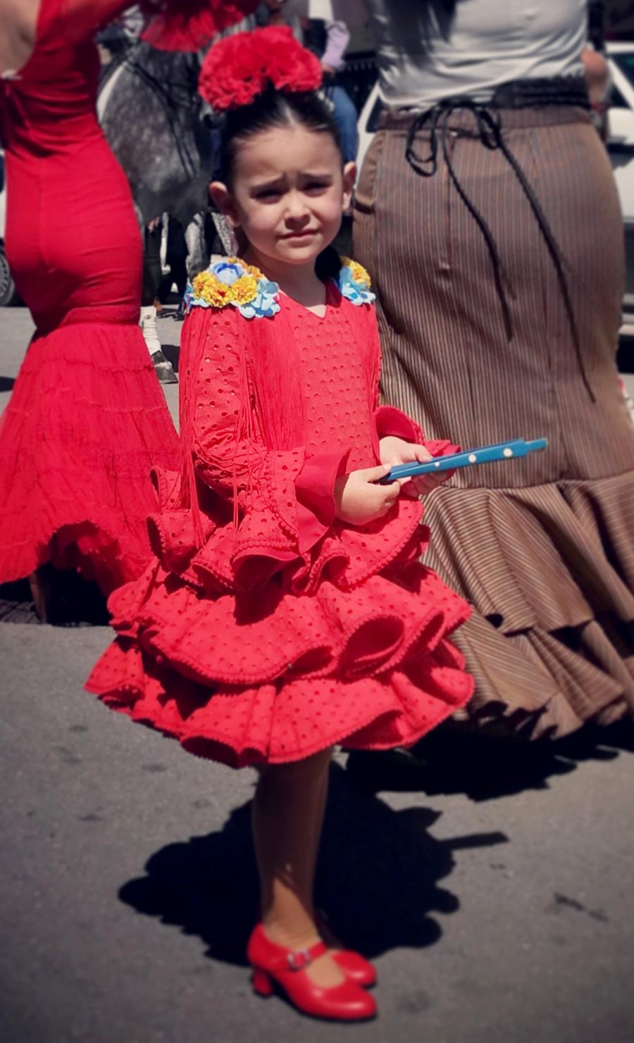 Traje de gitana flamenca para niña perforado rojo MiBebesito