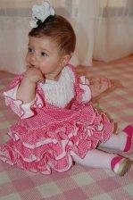 Traje de gitana flamenca para bebe rosa lunar blanco con diadema a juego MiBebesito