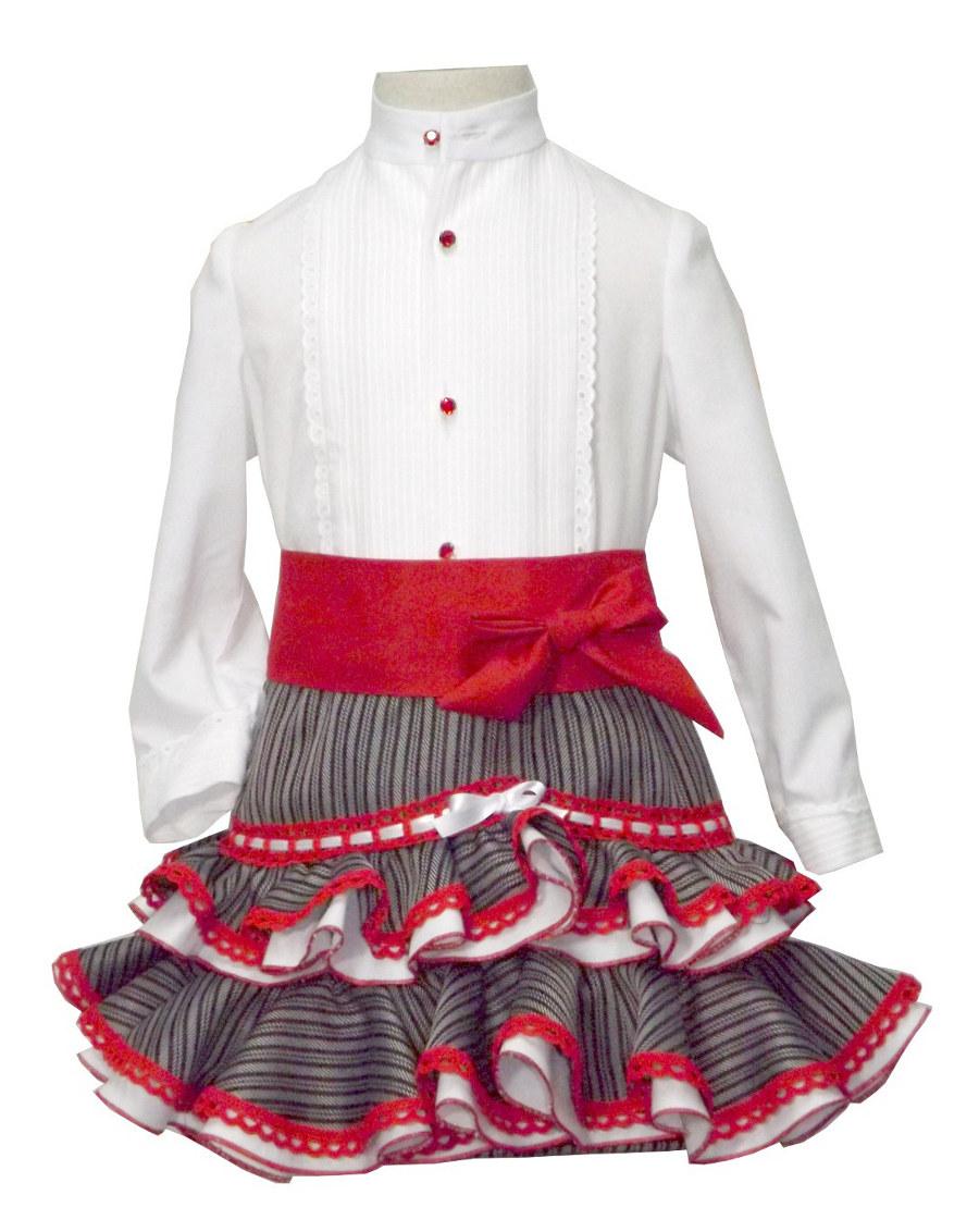 Traje de gitana flamenca campero para niña clasico MiBebesito