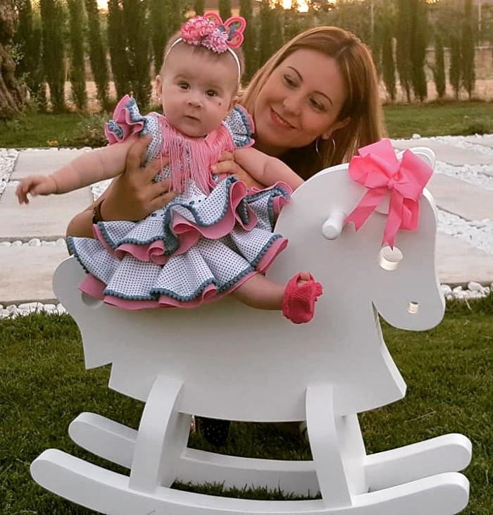 Traje de gitana flamenca para bebe blanco lunar turquesa MiBebesito