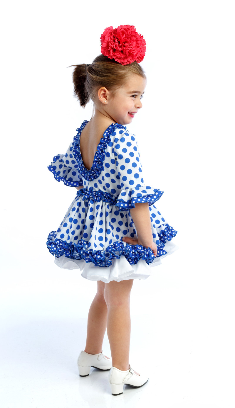 Traje de flamenca para niña popelin azul lunar blanco espalda al aire colección 2019 mibebesito