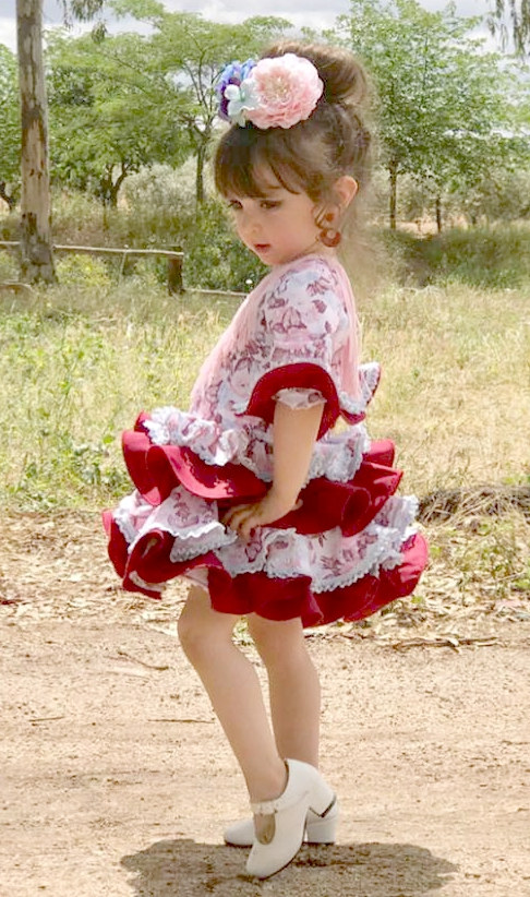 Traje de gitana flamenca para niña buganvilla mibebesito