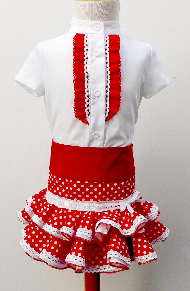 Traje de gitana para niña de camisa, falda popolín rojo lunar blanco y fajín a juego gtn220 MiBebesito