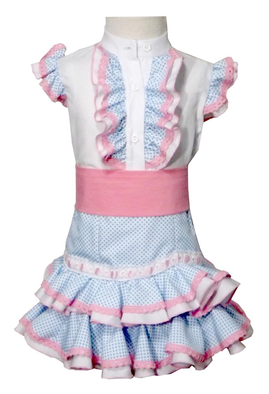 Traje de gitana flamenca para niña falda y camisa mibebesito