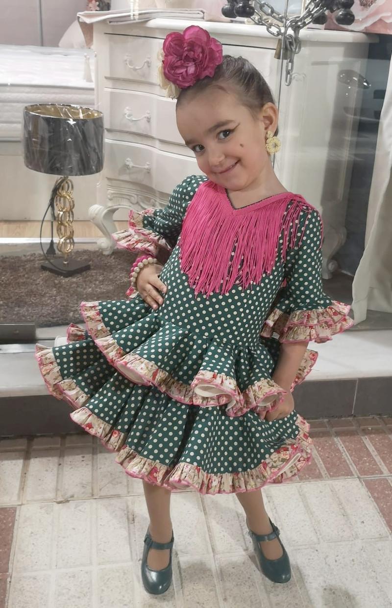 Traje de gitana flamenca para niña verde rosa MiBebesito