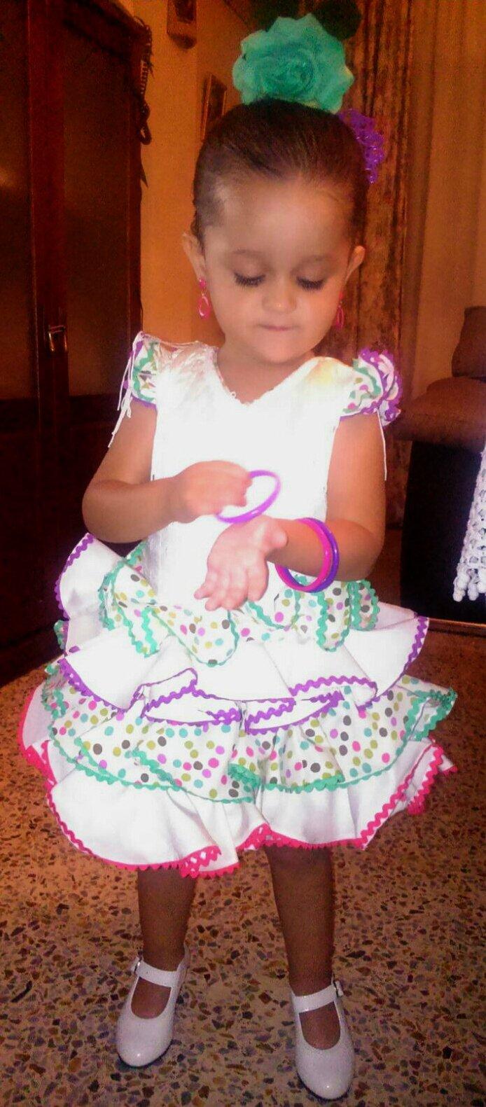 Traje de gitana flamenca para niña popelin perforado multicolor MiBebesito