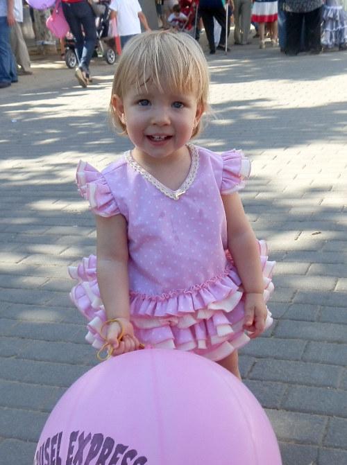 Traje de gitana flamenca para niña pique rosa mibebesito