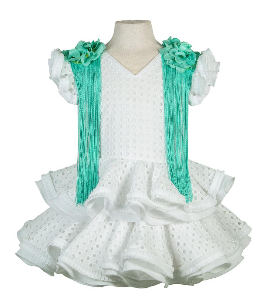 Traje de gitana para niña blanco perforado hombreras verde agua
