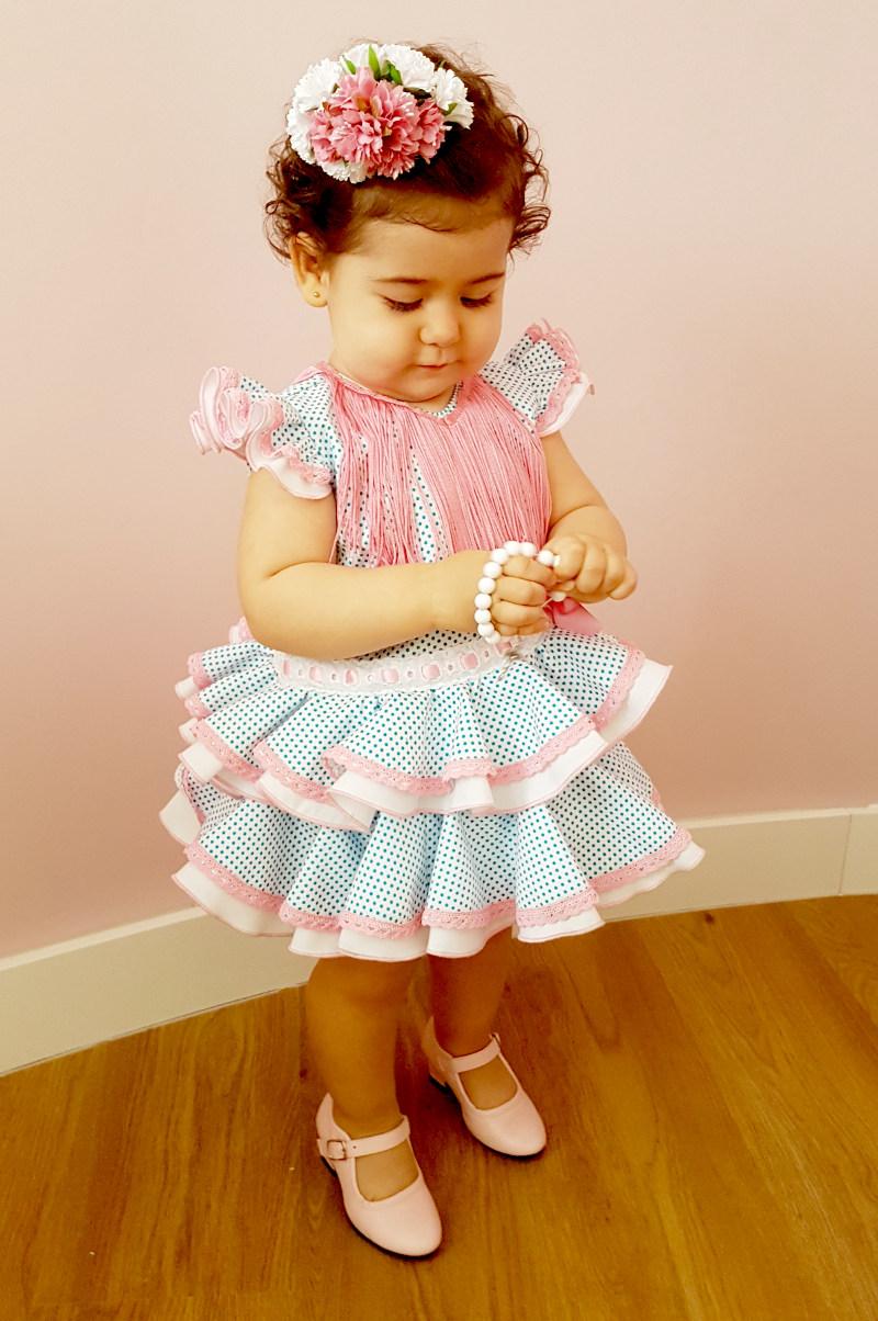 Vestido de gitana para bebés blanco con lunar turquesa pequeño