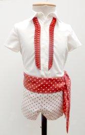 Traje de gitano flamenco corto para niño beige lunar boina y fajín a juego MiBebesito