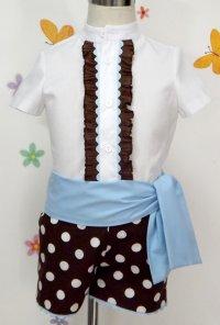 Traje de gitano corto para niño azul marino camisa con chorreras MiBebesito