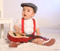 Traje de gitano flamenca corto para niño rayas grises boina gorra a juego MiBebesito