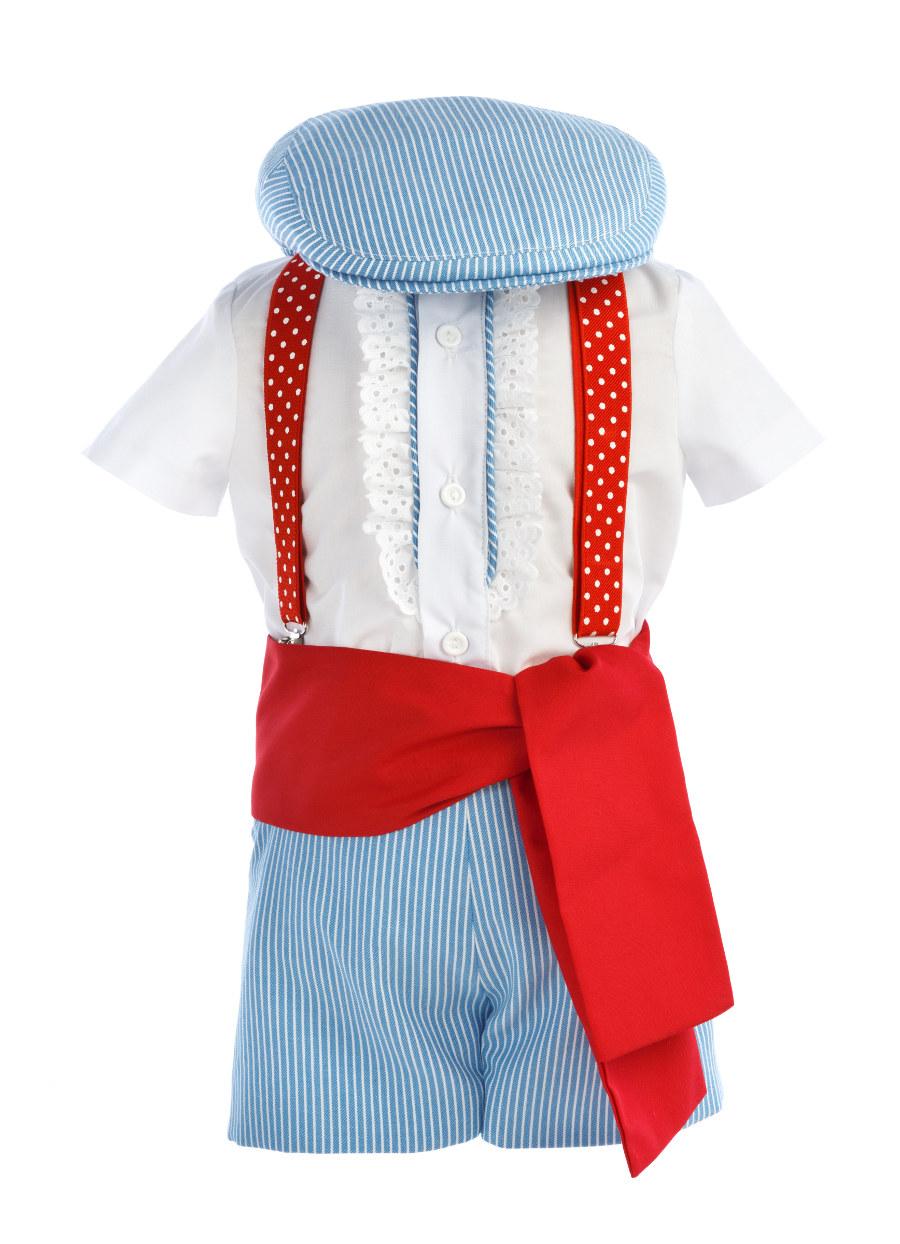 Traje de gitano para niño pantalón y camisa rayas azules