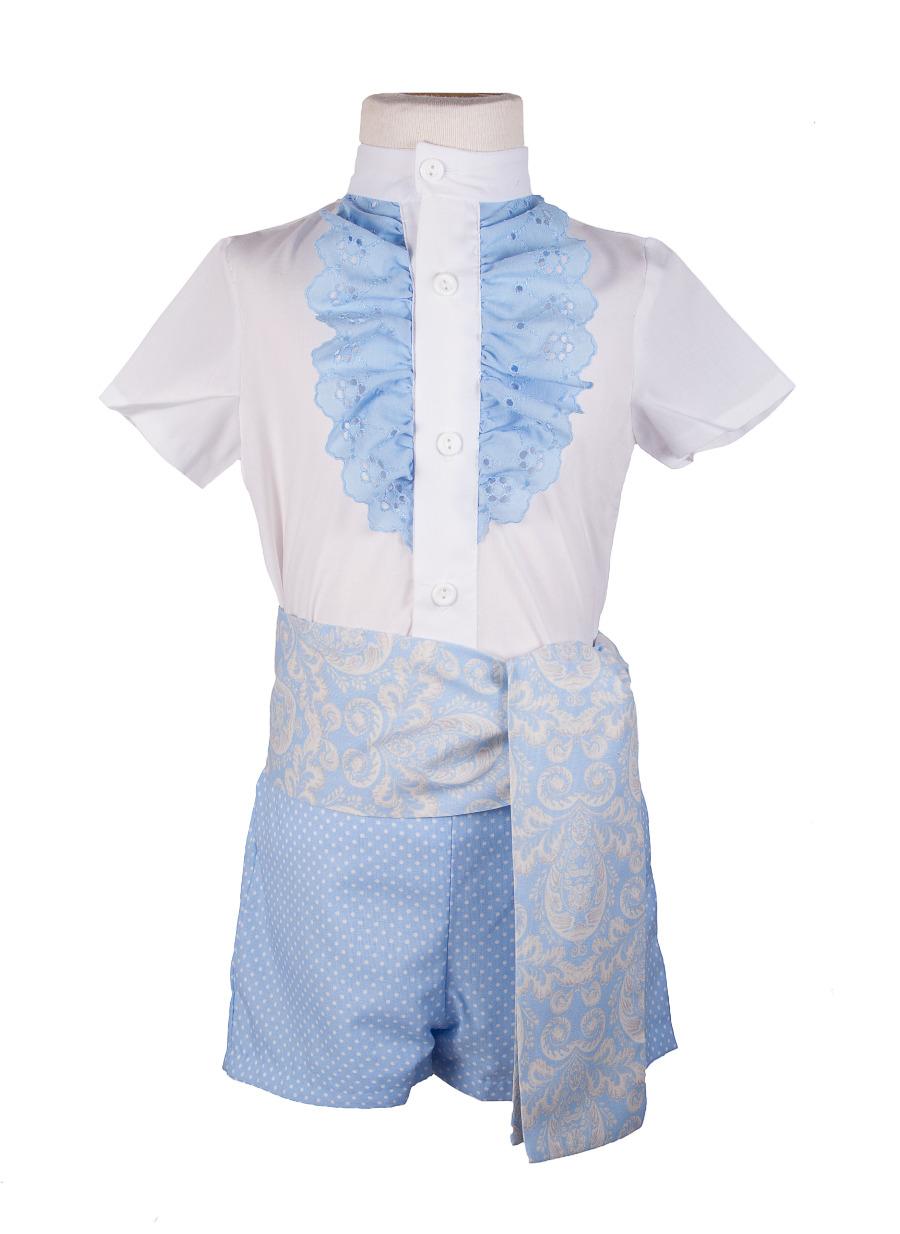 Traje de gitano para niño pantalón, camisa y flajin cachemir