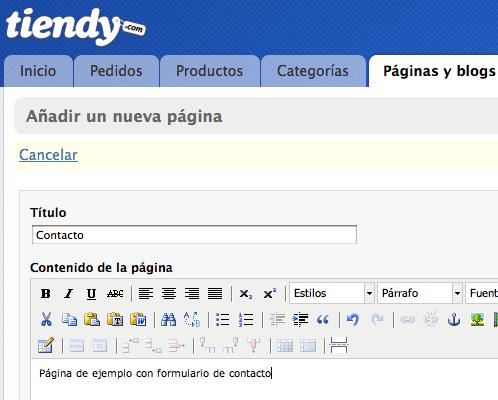 Crear una página de contacto en tiendy