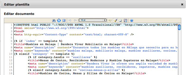 Edición de código hTML
