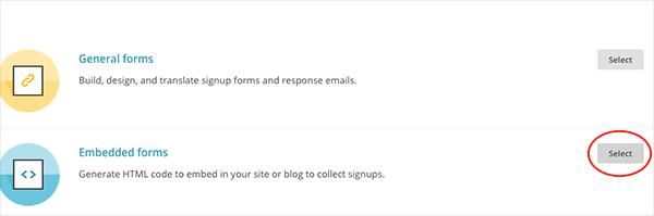 Elegir la opción embedded forms de Mailchimp