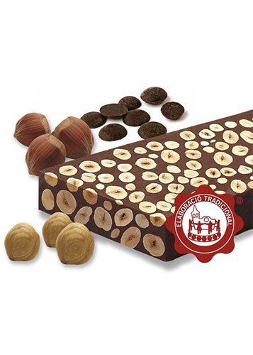 Turrón de chocolate con avellanas (chocolate 60%)(avellanas 40%). Calidad Suprema. 500g