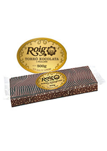 Turrón de chocolate y praliné (chocolate 50%). Calidad Suprema. 500g